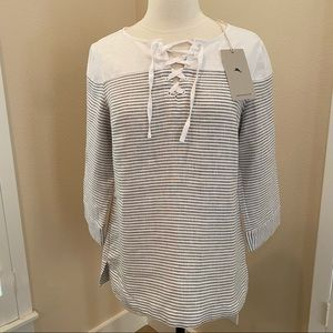 Tommy Bahama Blouse Linen Crystalline Waters XS